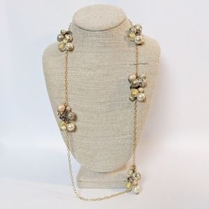 Lenora Dame Beaded Cluster Gold Pearl Necklace